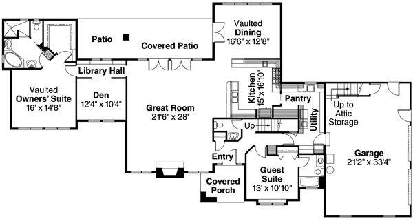 European Floor Plan - Main Floor Plan Plan #124-363