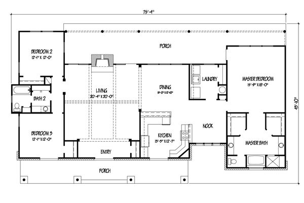 Ranch Floor Plan - Main Floor Plan #140-153
