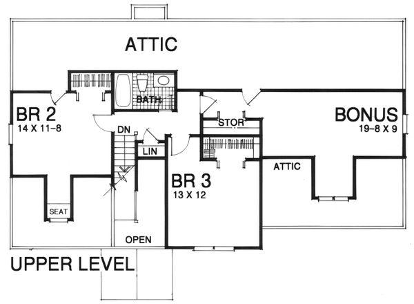 Traditional Floor Plan - Upper Floor Plan Plan #30-208