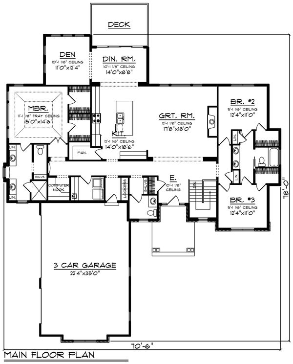 Craftsman Floor Plan - Main Floor Plan Plan #70-1481