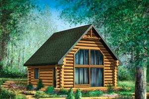 Cabin Exterior - Front Elevation Plan #25-4588