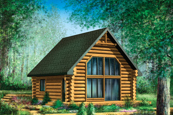 Cabin Exterior - Front Elevation Plan #25-4588