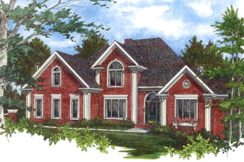 Southern Exterior - Front Elevation Plan #56-218