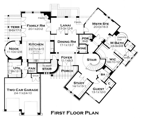 European Floor Plan - Main Floor Plan Plan #120-177