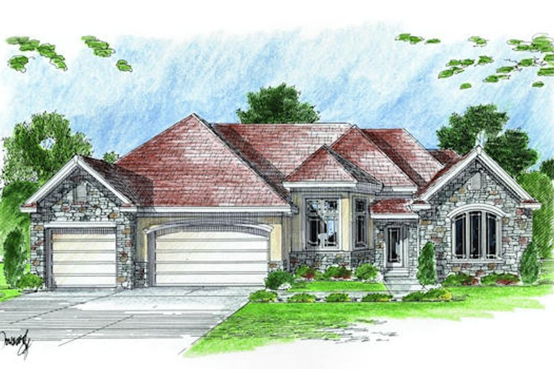 Traditional Style House Plan - 3 Beds 3 Baths 2788 Sq/Ft Plan #455-104 Exterior - Front Elevation