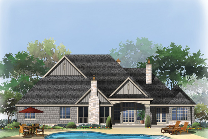 European Exterior - Rear Elevation Plan #929-939 - Houseplans.com