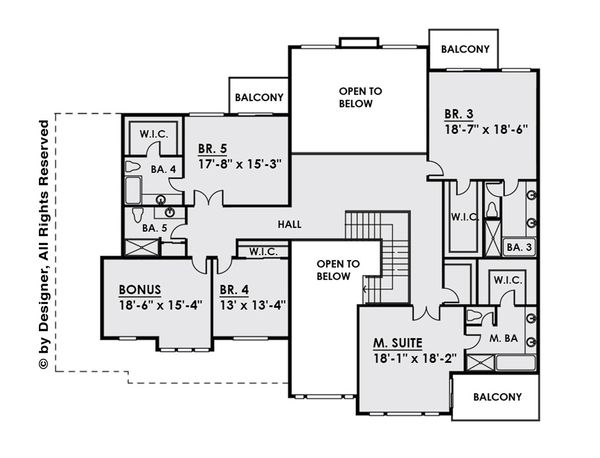 Contemporary Floor Plan - Upper Floor Plan Plan #1066-28