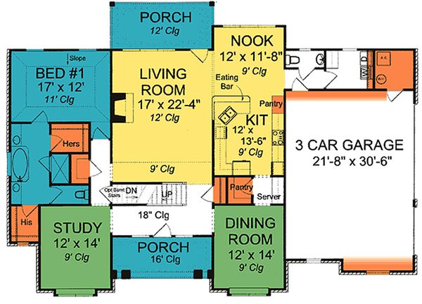 Cottage Floor Plan - Main Floor Plan Plan #513-2059