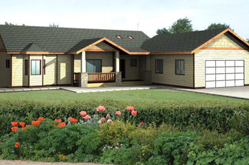 Ranch Exterior - Front Elevation Plan #117-575 - Houseplans.com