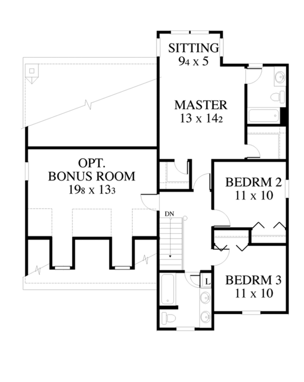 Country Floor Plan - Upper Floor Plan Plan #1053-24