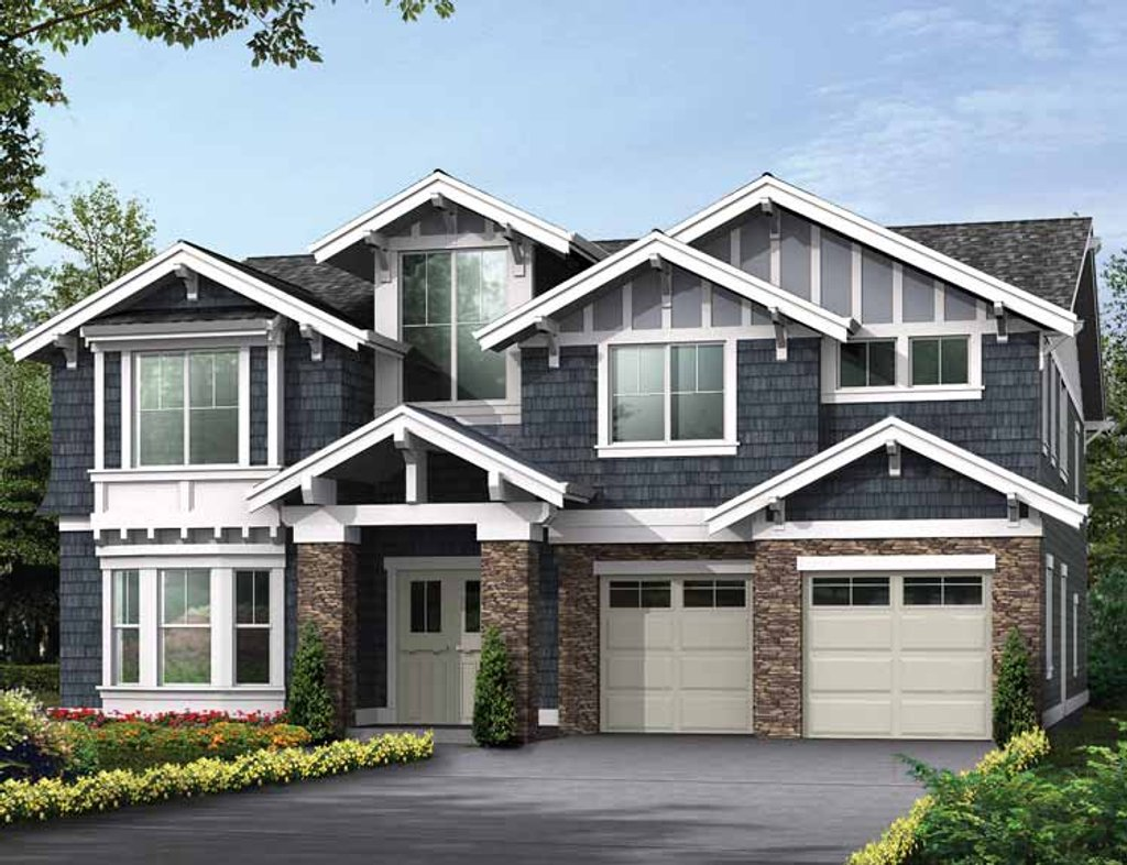 Craftsman style house plan 5 beds 4 5 baths 4348 sq ft for Craftsman vs mission style