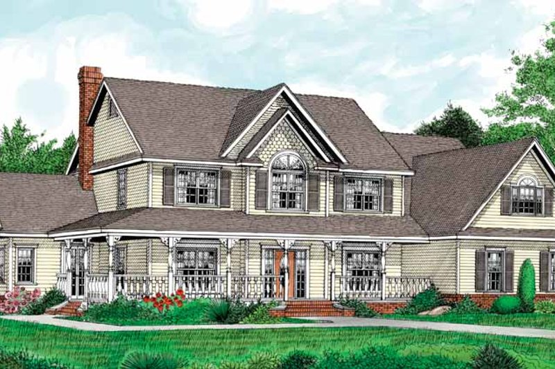 Country Exterior - Front Elevation Plan #11-266 - Houseplans.com