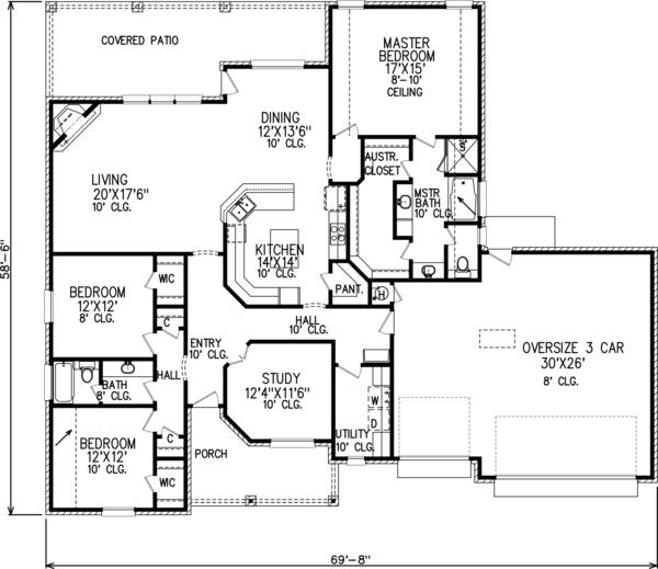 Traditional Floor Plan - Main Floor Plan Plan #65-518
