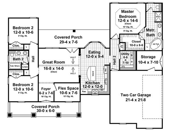 Ranch Floor Plan - Main Floor Plan Plan #21-435
