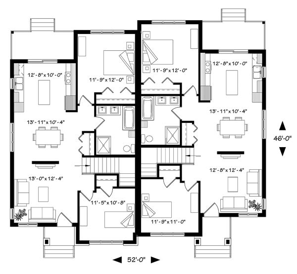 Contemporary Floor Plan - Main Floor Plan Plan #23-2720