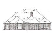 European Style House Plan - 4 Beds 3 Baths 2497 Sq/Ft Plan #310-258 Exterior - Rear Elevation