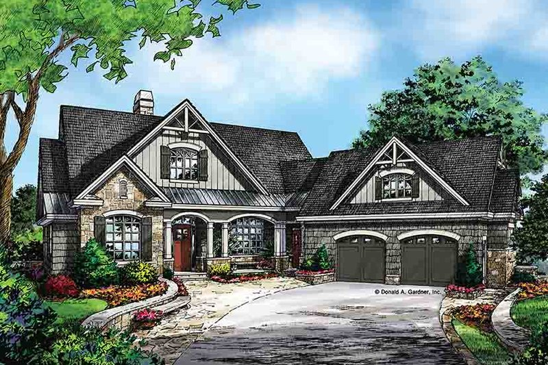 Craftsman style house plan 4 beds 4 baths 2896 sq ft for Front walkout basement
