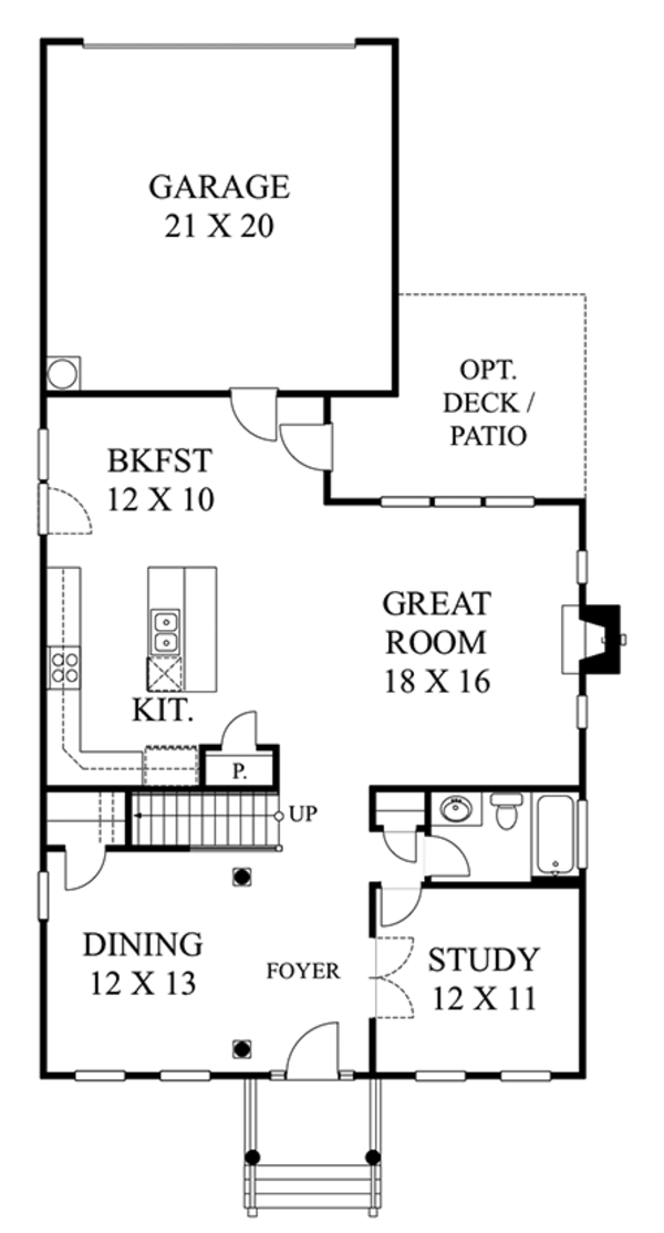 Architectural House Design - Colonial Floor Plan - Main Floor Plan #1053-73