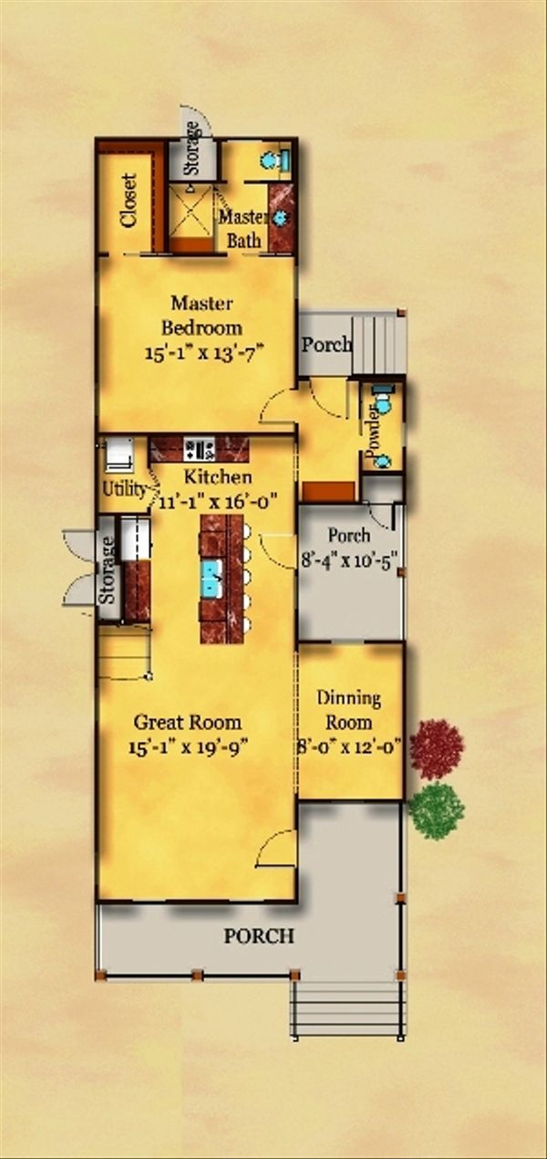 Beach Floor Plan - Main Floor Plan Plan #442-2