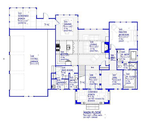 House Plan Design - Cottage Floor Plan - Main Floor Plan #901-139