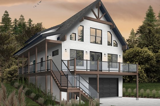 Cottage Exterior - Front Elevation Plan #23-2718