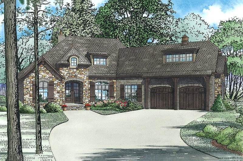 European Style House Plan - 4 Beds 3.5 Baths 2527 Sq/Ft Plan #17-2529 Exterior - Front Elevation