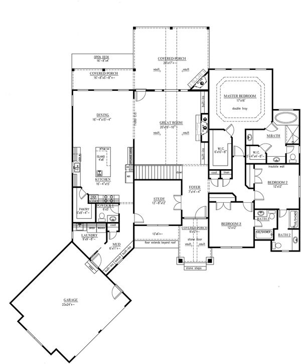 Craftsman Floor Plan - Main Floor Plan Plan #437-59