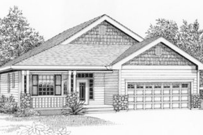 Traditional Style House Plan - 4 Beds 2 Baths 1732 Sq/Ft Plan #53-164 Exterior - Front Elevation