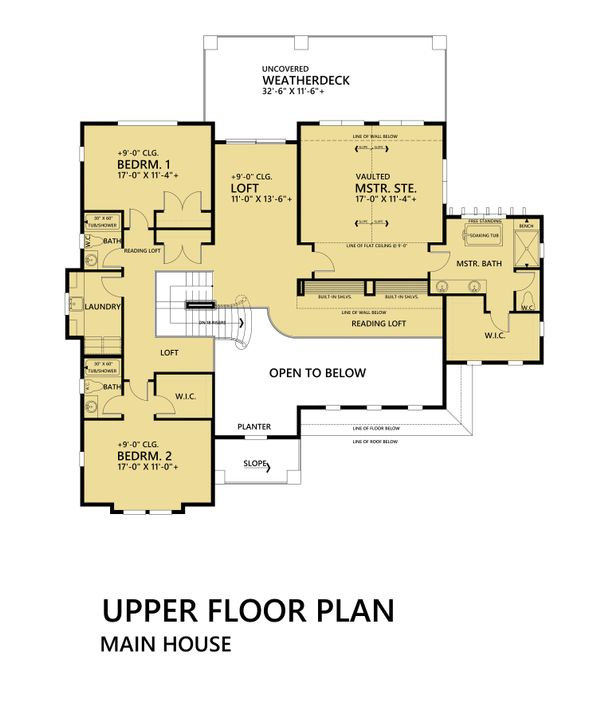 Mediterranean Floor Plan - Upper Floor Plan Plan #1066-46
