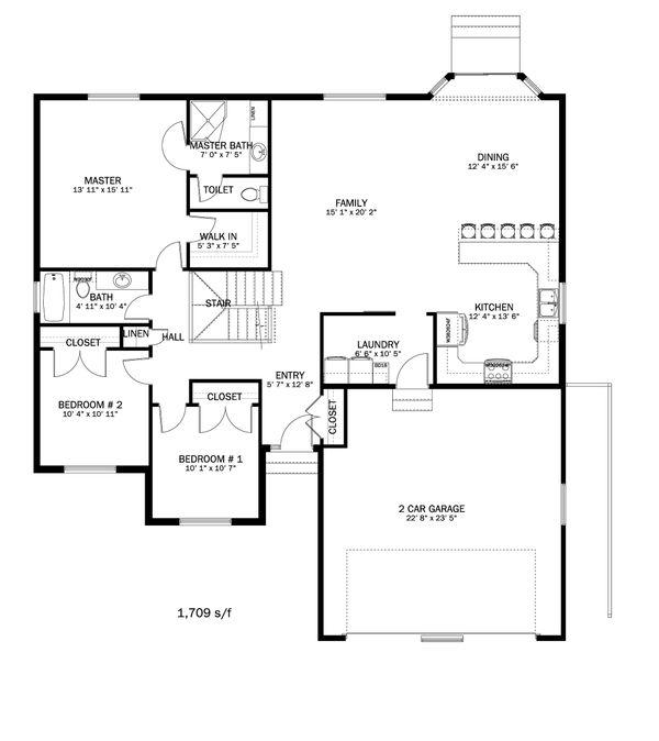 Ranch Floor Plan - Main Floor Plan Plan #1060-41