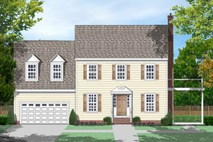 Colonial Exterior - Front Elevation Plan #1053-74