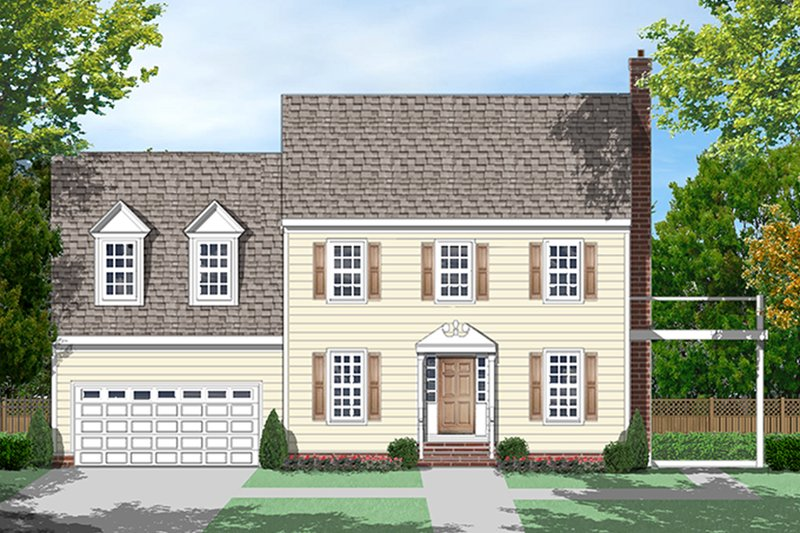 Architectural House Design - Colonial Exterior - Front Elevation Plan #1053-74