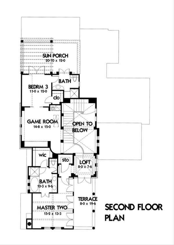 Mediterranean Floor Plan - Upper Floor Plan Plan #120-164