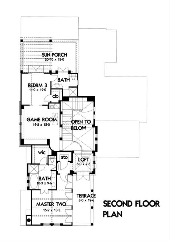 Mediterranean Floor Plan - Upper Floor Plan Plan #120-164