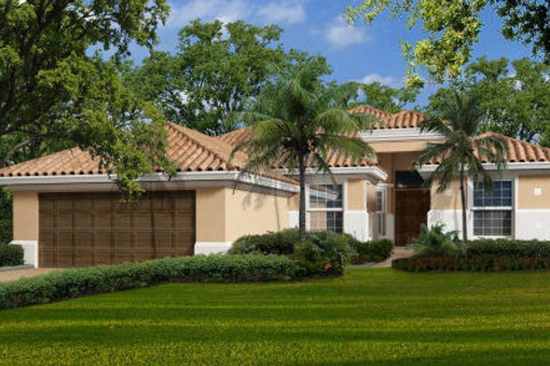 Mediterranean Style House Plan - 5 Beds 3 Baths 2654 Sq/Ft Plan #420-208 Exterior - Front Elevation