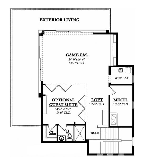 Mediterranean Floor Plan - Upper Floor Plan Plan #1058-84