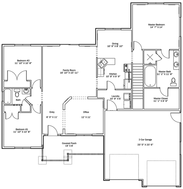 Ranch Floor Plan - Main Floor Plan Plan #1060-10