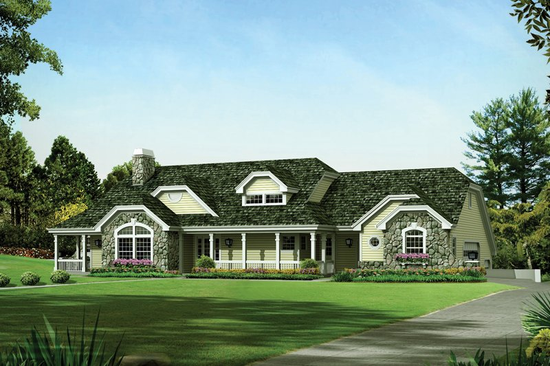 Architectural House Design - Country Exterior - Front Elevation Plan #57-691