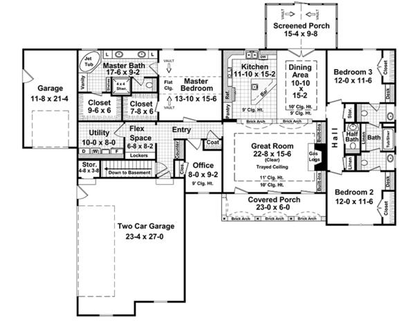 Country Floor Plan - Main Floor Plan Plan #21-433