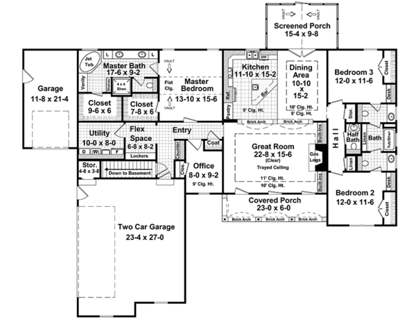 Architectural House Design - Country Floor Plan - Main Floor Plan #21-433