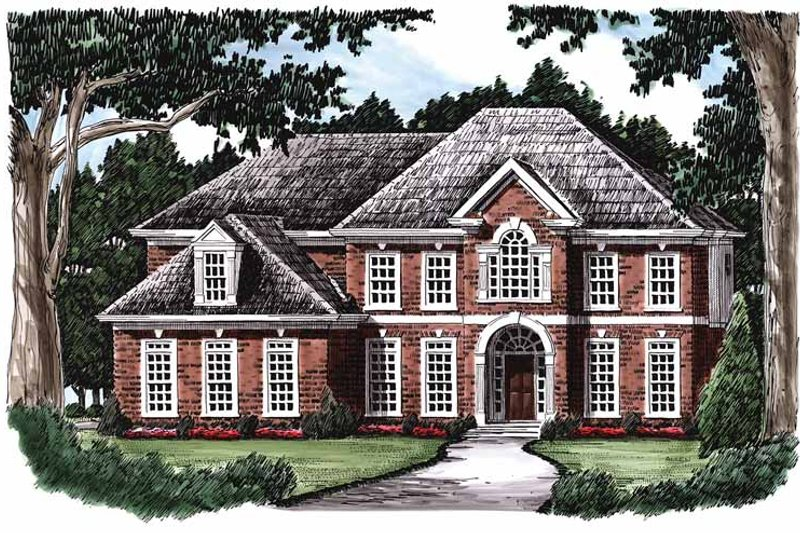 Colonial Exterior - Front Elevation Plan #927-223