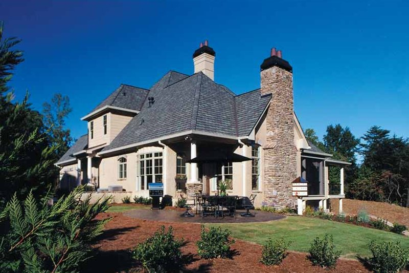 European Exterior - Rear Elevation Plan #437-66 - Houseplans.com
