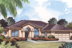 Dream House Plan - Mediterranean Exterior - Front Elevation Plan #417-795