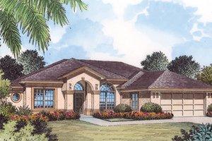 Dream House Plan - Mediterranean Exterior - Front Elevation Plan #417-795