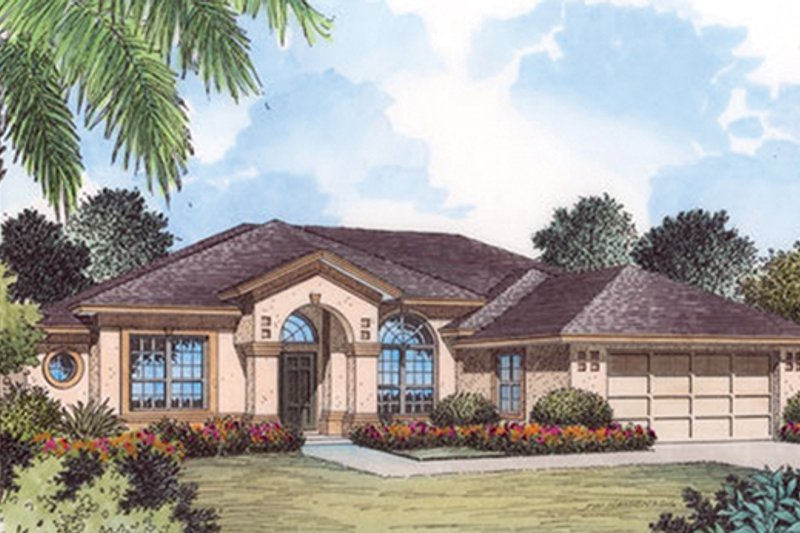 Architectural House Design - Mediterranean Exterior - Front Elevation Plan #417-795