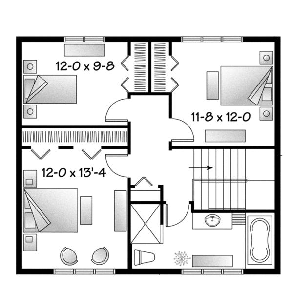 Traditional Floor Plan - Upper Floor Plan Plan #23-2508