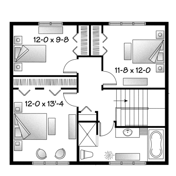 Home Plan - Traditional Floor Plan - Upper Floor Plan #23-2508