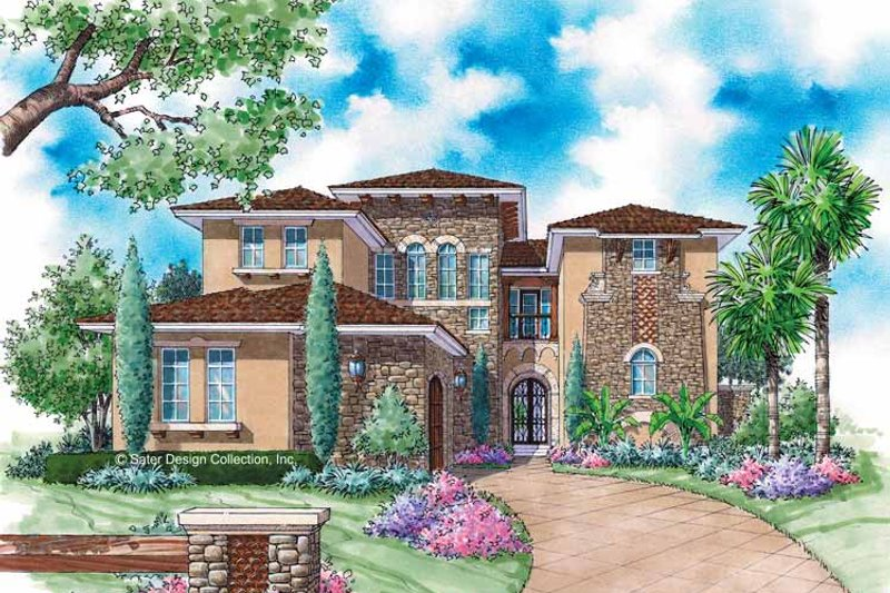 Mediterranean Style House Plan - 4 Beds 4.5 Baths 3458 Sq/Ft Plan #930-313 Exterior - Front Elevation