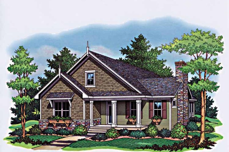 Architectural House Design - Country Exterior - Front Elevation Plan #51-963
