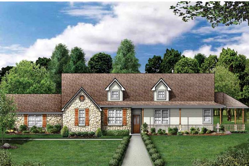 Country Exterior - Front Elevation Plan #84-698 - Houseplans.com